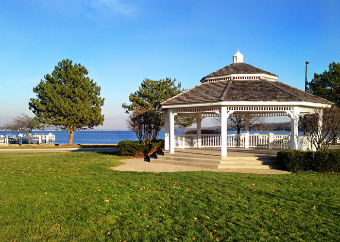 image of a gazebo by the water